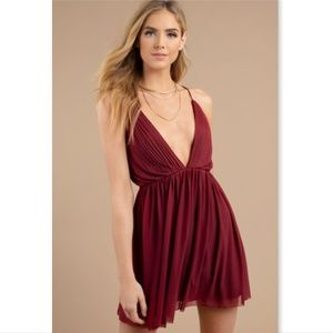 TOBI Always Around Skater Dress open back pleated